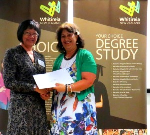 Compass Health presenting Caroline Komene with her scholarship award