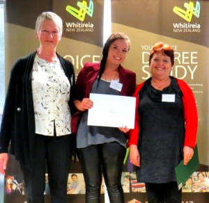 Sponsors Wellington Ostomy Association representatives either side of Mahala Jay in her second year of a Bachelor of Nursing degree