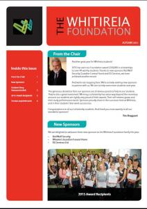 Whitireia Foundation Newsletter Autumn 2015 Front Page