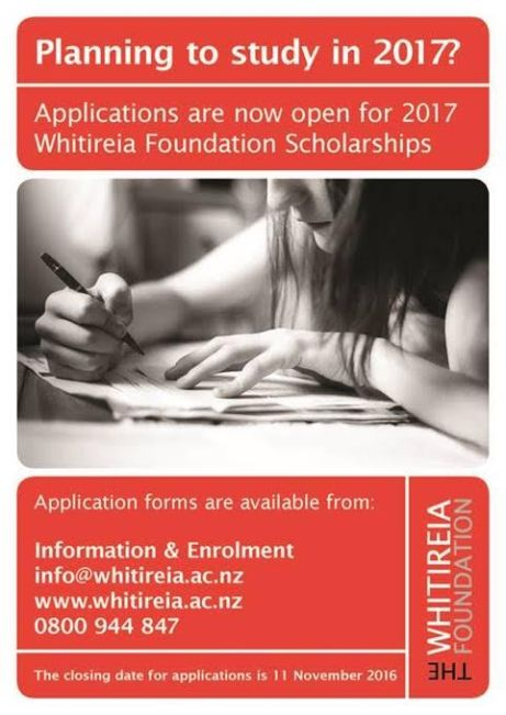 Get your Whitireia Foundation application in by 11 November 2016