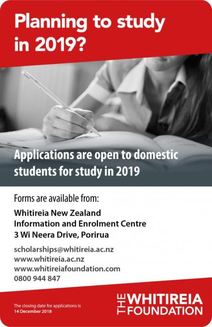Whitireia Foundation Scholarships 2019 Poster